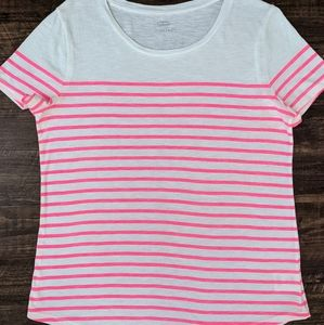 Old Navy Neon Pink Striped Shirt